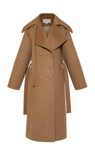 Belted Oversized Wool Melton Double-Breasted Coat