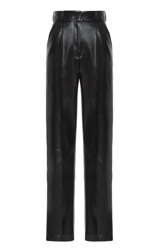 Pleated Eco-Leather Straight-Leg Trousers