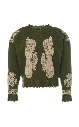Distressed Padded-Shoulder Embroidered Wool Sweater