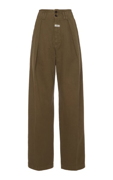 Pleated Cotton High-Rise Wide-Leg Pants