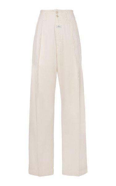 Pleated Cotton-Twill Wide-Leg Pants