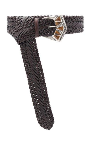 Woven Leather Waist Belt