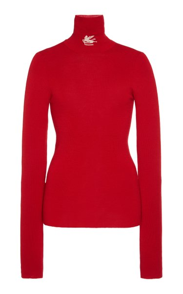 Fitted Wool Turtleneck Top