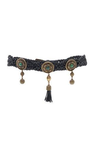 Embellished Braided Leather Belt
