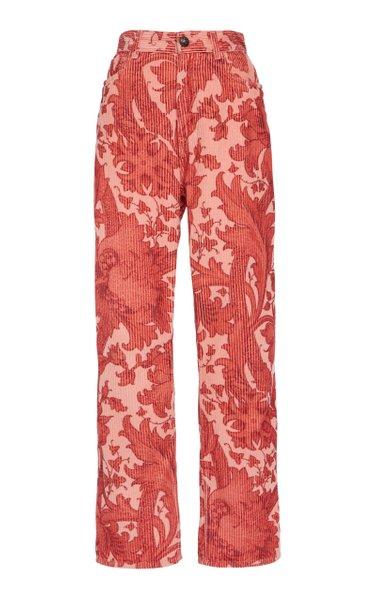 Printed Cotton Corduroy Pants