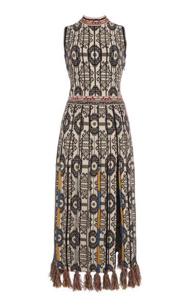 Printed Wool-Cotton Midi Dress