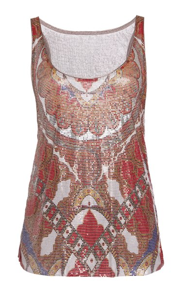 Scarf-Detailed Printed Chainmail Top