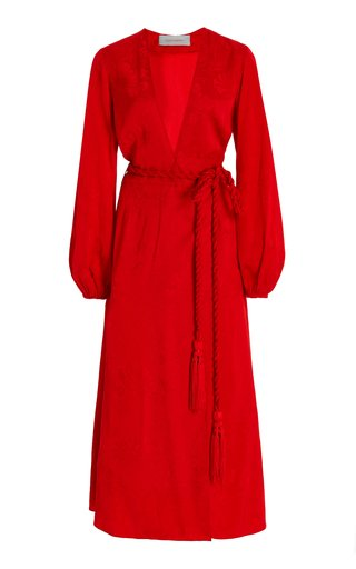 Acquaviva Floral Jacquard Midi Wrap Dress