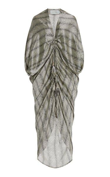 Cloister Draped Herringbone Silk Maxi Dress
