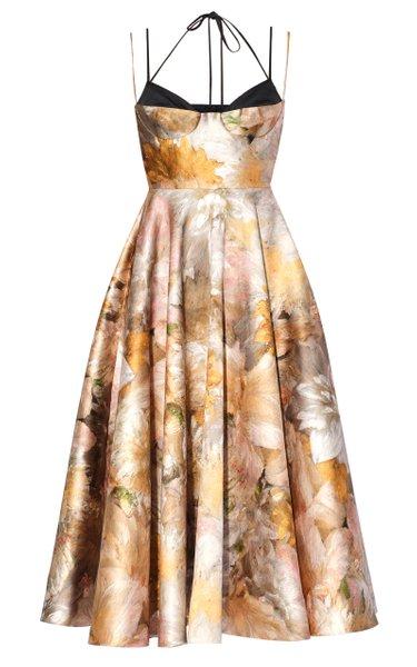Rea Floral-Printed Satin Dress