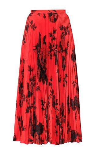 Nesrine Floral-Printed Plisse Midi Skirt