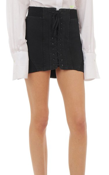 Cotton-Blend Denim Mini Skirt