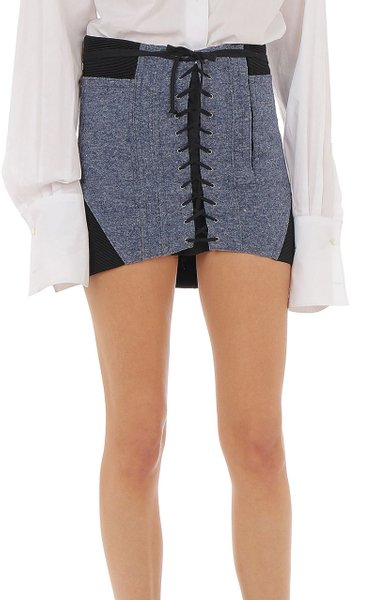 Lace Up Felt Mini Skirt
