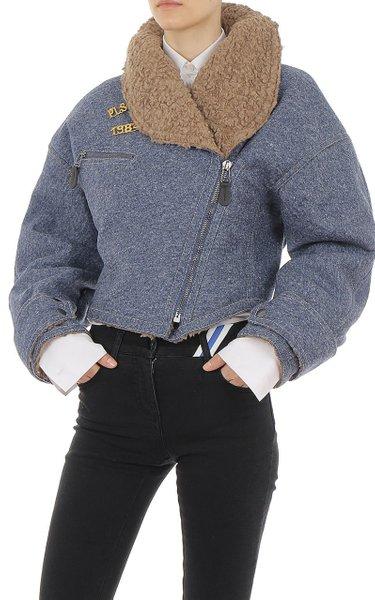Faux Sheepskin-Trimmed Felt Jacket
