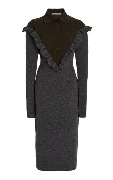 Ruffled Wool Midi Sweater Dress