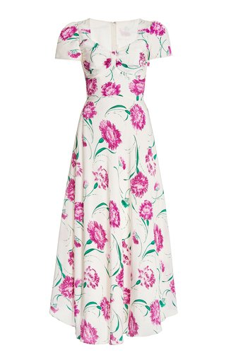 Ruched Floral Silk Maxi Dress