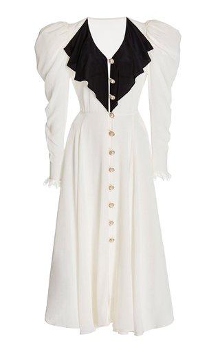 Embellished Draped Silk Maxi Dress