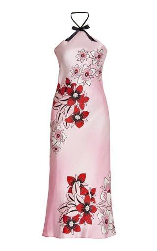 Floral Silk Satin Midi Slip Dress