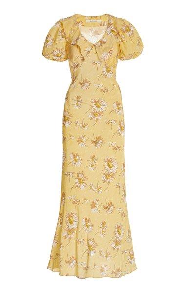 Ruffled Daisy-Print Silk Maxi Dress