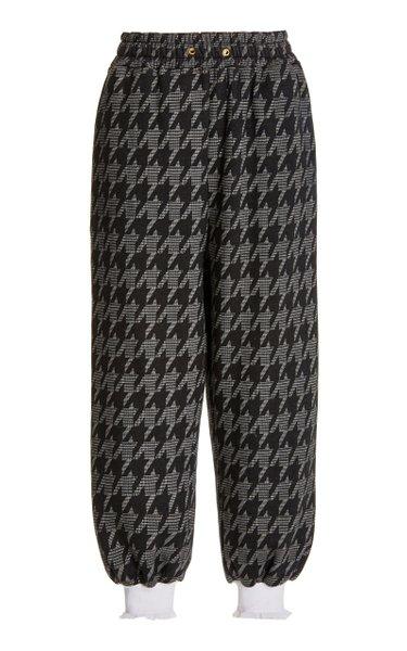 Lace-Trimmed Herringbone Cotton-Blend Sweatpants