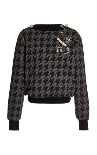 Embellished Herringbone Cotton-Blend Sweatshirt