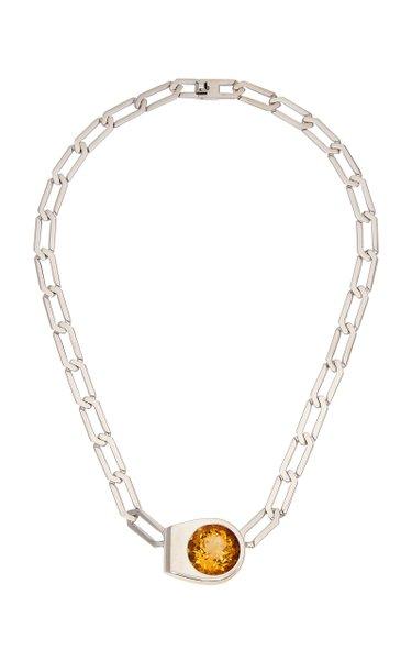 Slim Mangueira 18K White Gold Citrine Necklace