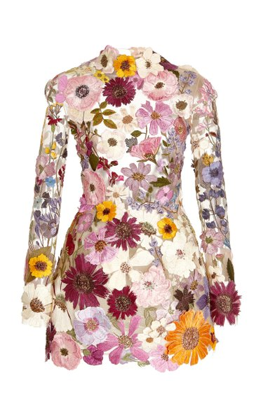 Floral-Embroidered Tulle Mini Dress