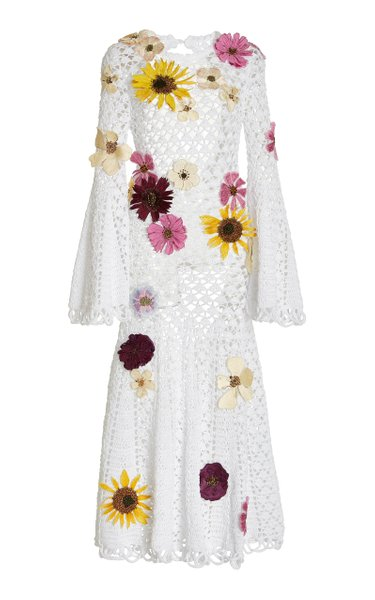 Floral-Embroidered Open-Crocheted Cotton Dress