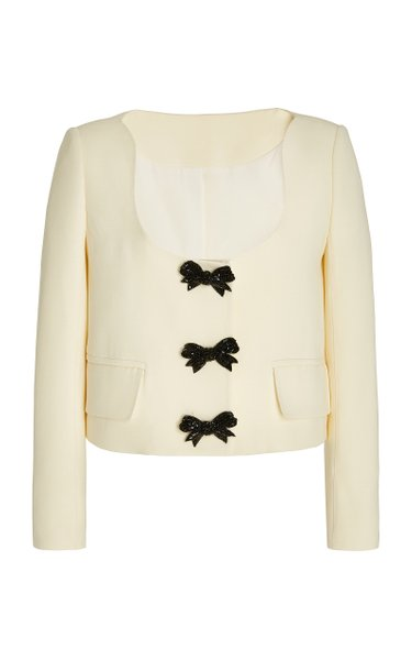 Crystal Bow-Embroidered Virgin Wool-Blend Jacket