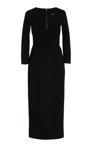 Stretch Wool-Blend Midi Cocktail Dress