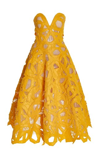 Cutout Faille Strapless Midi Cocktail Dress