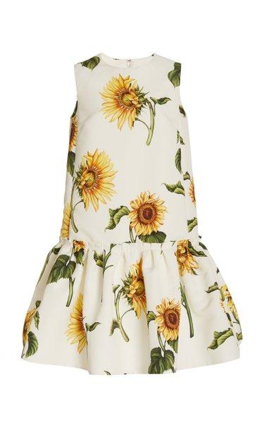 Flared-Hem Floral Faille Mini Dress