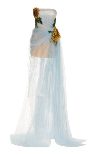 Floral-Appliqued Draped Tulle Mini Dress