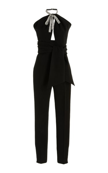 Crystal Bow-Embroidered Virgin Wool-Blend Jumpsuit