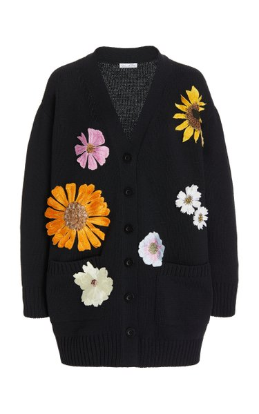 Oversized Floral-Embroidered Silk-Cotton Cardigan
