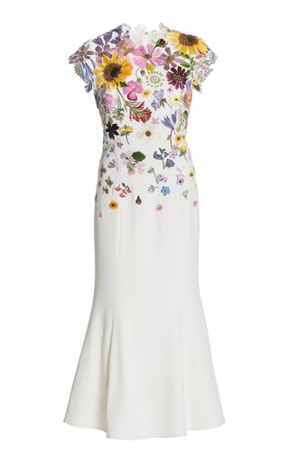 Pressed Floral-Embroidered Stretch Wool Crepe Trumpet Dress