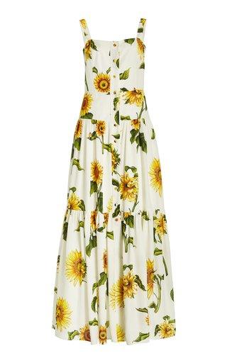 Floral-Printed Sleeveless Silk Dress