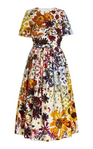 Floral-Printed Pleated Cotton-Blend Midi Dress