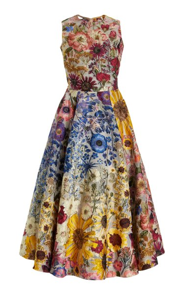 Floral-Printed Fil Coupé Midi Dress