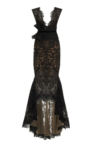 Peplum-Detailed Lace Gown