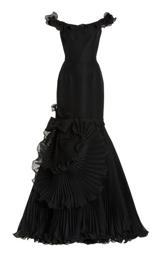 Pleated Satin Off-The-Shoulder Gown