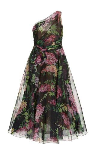Floral Chiffon One-Shoulder Midi Dress