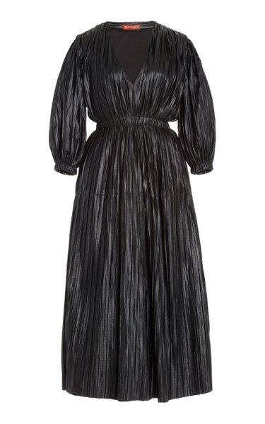 Barbarosa Pleated Leather Midi Dress