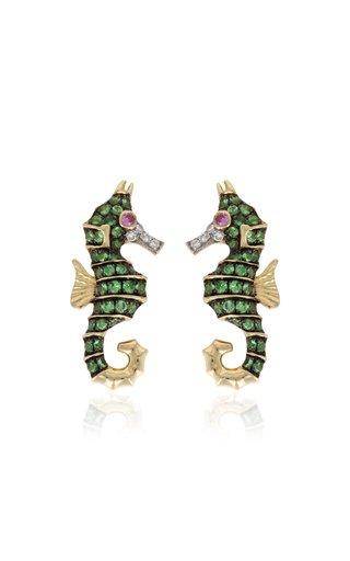 Seahorse 18K Gold Multi-Stone Earrings