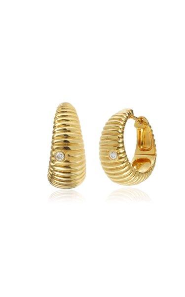 9K Gold Diamond Hoop Earrings