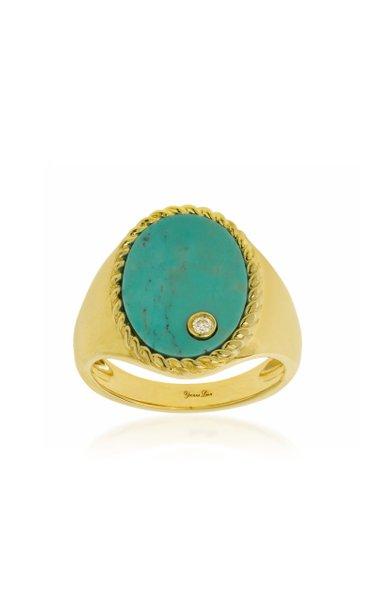 9K Yellow Gold Turquoise, Diamond Signet Ring