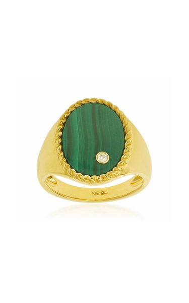 9K Yellow Gold Malachite, Diamond Signet Ring