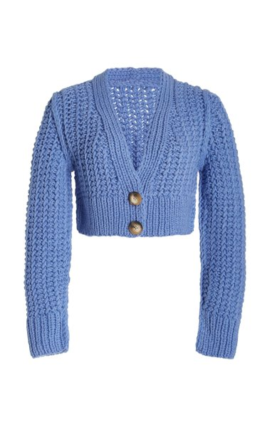 Sabina Crochet-Knit Cropped Cardigan