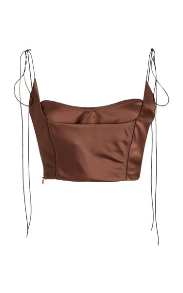 Kyle Layered Satin Bustier Cropped Top