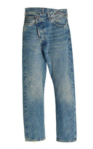Rigid Crossover Straight-Leg Jeans